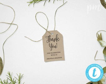 Wedding Favor Tags Template, Printable Rustic Thank You Tags, Kraft Gift Tags, Instant Download, For Wedding or Shower