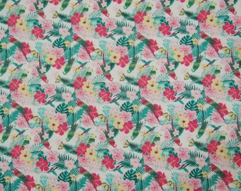 "Indian Dress Fabric, Floral Cotton Fabric, Quilt Material, White Fabric, Home Decor, Sewing Craft, 42"" Inch Fabric By The Yard ZBC7026A"