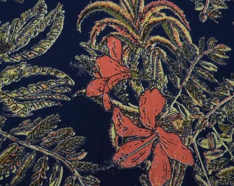 "Decorative Fabric, Floral Print, Navy Blue Fabric, Dress Fabric, Sewing Decor, 43"" Inch Rayon Fabric By The Yard ZBR270A"