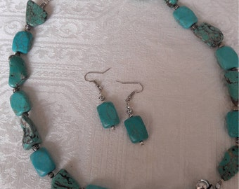 NEW - TIBETAN Silver TURQUOISE Necklace Set - Real Turquoise and Turquoise Magnesite