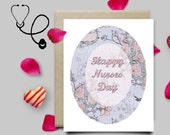 Happy Nurses Day card, Card for a nurse, Floral & vintage pink card,  printable greeting card, digital, instant download no wait last minute