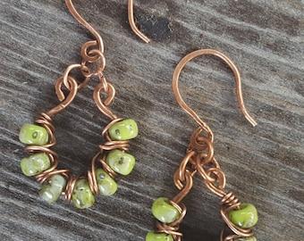 Green Beaded Wire Wrapped Dangle Earrings - Picasso Finish - Copper Earrings - Copper Wire Wrapped Earrings - Green Earrings - Boho Style