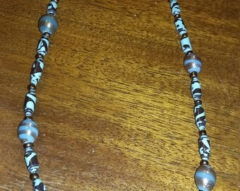 Lovely Teal and Bronze Paper and Glass Bead Necklace
