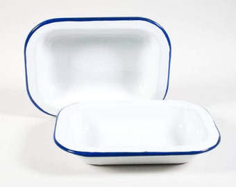 Vintage enamel bowl, two bowls by Bumper Harvest, Blue and white, retro kitchen