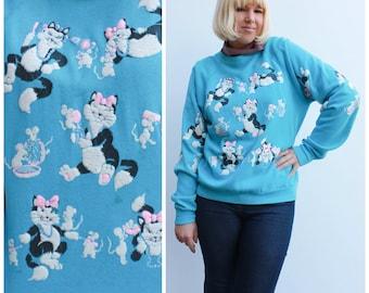 Vintage 80s Cat Pullover Sweatshirt / Puffy Cat Art / Size L