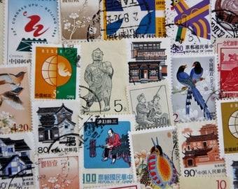 50 Chinese Postage Stamps // Vintage & Modern Mixed Lot // Collecting // Scrapbooking // Paper Craft // Paper Ephemera // Journal // Travel