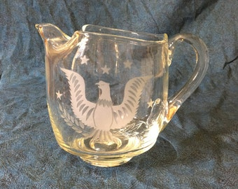 Vintage Etched Glass American Bald Eagle Ice Lip Pitcher