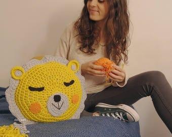 Crochet Lion cushion for kids handmade, children's