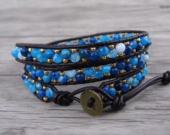 blue Jasper bead wrap bracelet 3eow waps bracelet leather bracelet Boho leather wrap bacelet gypsy bead bracelet bead Jewelry SL-0543