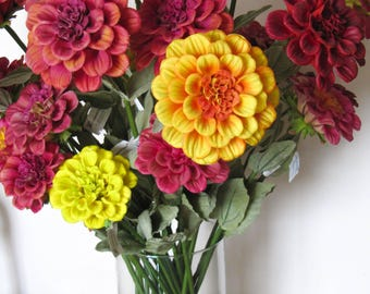 Real Touch Zinnia Artificial Flowers/Magenta/Red/Orange/Yellow Flower Arrangement and Centerpiece/Home Decor