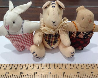 3 Quirky Collectable Plush Rabbits / Bunnies - Bush Baby toys - Soft toy/ Stuffed animal/ Plushie