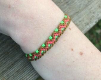 Pink, Green, and Brown Friendship Bracelet- Adjustable Size