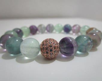Fluorite, fluorite bracelet, bracelet of semi-precious stones, bracelets, beaded, gift for woman, Micropave bracelet, bracelet, jewelry