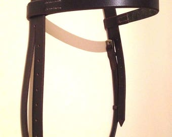 Handmade Plain Bridle Headpiece - Italian Leather - Shetland, Pony, Cob, Full - Black, Brown