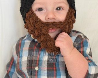Crochet Beard Hat | beard hat, baby beard hat, kids beard hat, winter beard hat, beard beanie, beanie with beard, lumberjack party beard hat