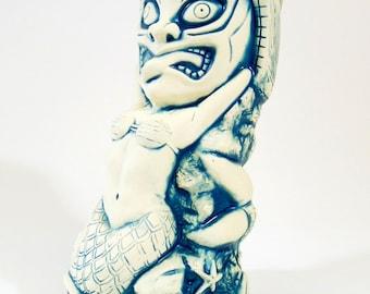 Tiki Mermaid Tiki Mug - matte blue and white - limited edition