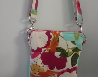Handbag, Cross Body Bag, Multi Color Flower Purse, Shoulder Bag, Purse, Everyday Purse, Multi Color Flower Shoulder Bag