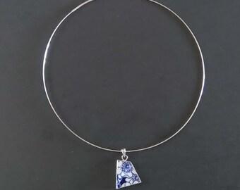 Minimal Choker, Choker Necklaces, Blue Choker, Silver Choker Neckwire Necklace, Blue Necklace, Wifes Blue Necklace, Blue Girlfriend Necklace