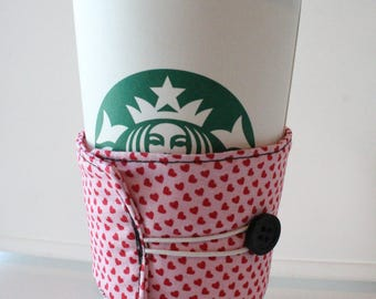 Environmentally Friendly, Reusable Fabric Insulated Coffee Sleeve - Pink with Red Hearts and Black Button Closure