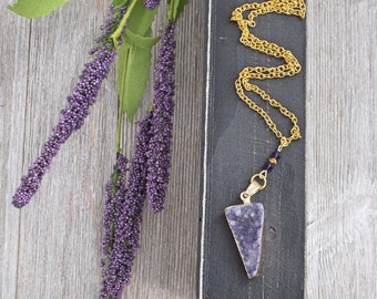 Purple Druzy Necklace | Gold Elements | Wire Wrapping
