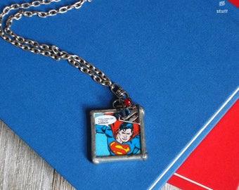 Silver Superman Pendant Necklace | Super Hero Jewelry | Single Strand Design