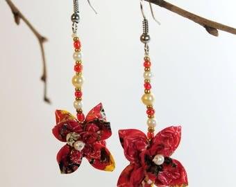 """Flowers of Garance"" origami earrings"