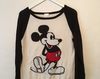 Vintage Mickey Mouse Disney Black And White Lightweight Womens Sweater Size Medium