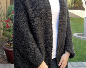 Hand Knitted Oversized Shrug, Kimono Knit Cardigan, Hand Knitted Bolero Shrug, Black Batwing Shrug