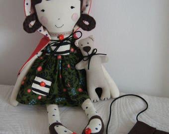 Fabric soft doll,Rag doll, Cloth doll,Hanmade doll,Baby Girl gift,Stuffed doll,Red Riding Hood