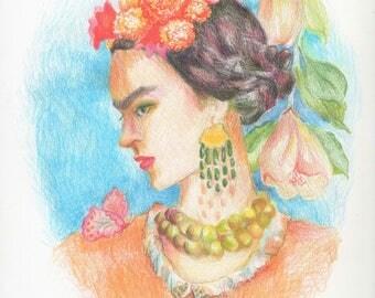 "Original Fine Art Drawing ""Blue Skies No Tears"" Frida Kahlo Inspired Portrait Flowers Butterfly Botany Orange Blue Green Mexican Artist"