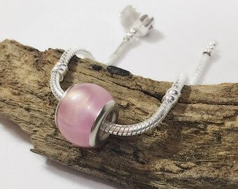 Pink & Silver Euro Bead / Shimmery Pink Resin Bead / 9 x 11 mm / Pink Large Hole Bead / KB4