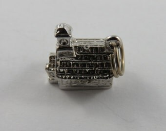 Mechanical Church that Opens with Couple Getting Married Inside Sterling Silver Charm or Pendant.