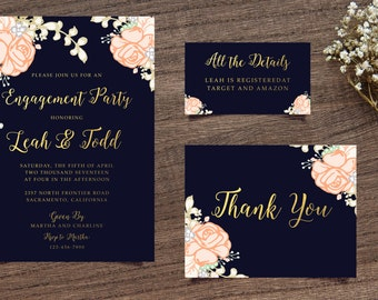 Navy Engagment Invitation, Boho Chic Invite, Handpainted Invite, Floral Engagement Invite, Calligraphy Invite, Printable Invite