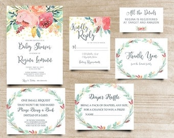 Peony Baby Shower Invite, Boho Chic Invite, Calligraphy Invite, Handpainted Invite, Bohemian Invitation, Printable Shower Invitation