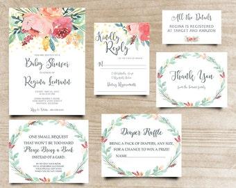 Peony Baby Shower Invite, Boho Chic Invite, Calligraphy Invite, Handpainted Invite, Bohemian Invitation, Printable Shower Invitation