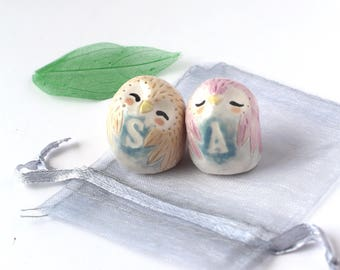 Personalised Owls With Initial. Wedding/Engagement/ Anniversary Handmade Ceramic Miniature Good Luck Charm Cake Topper Keepsake Gift.