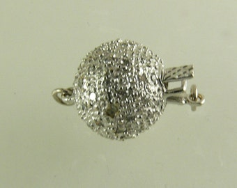 14k White Gold Clasp with Diamonds 0.35ct, Single Strand