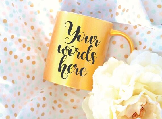 Custom Gold Coffee Mug Sublimation Mug, 2 Sided, Metallic Mug