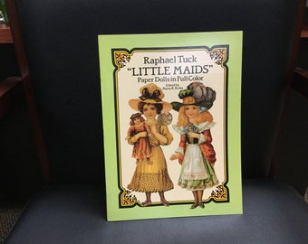 "Vintage Uncut Raphael Tuck ""Little Maids"" paper doll book 1990 Dover"