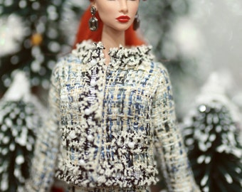 Tweed couture suit for fashion royalty , Poppy Parker, Silkstone Barbie, fr2 , 12'' Fashion Doll