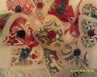 """C9 Christmas garland 13 double Xmas fabric hearts on 102""""red ribbon with button trim."""