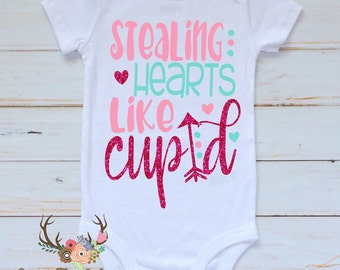 Girls Valentine Shirt - Baby Girls Valentines Day Gown - Toddler Girl Valentine Shirt - Girls Valentines Outfit - Stealing Hearts Like Cupid