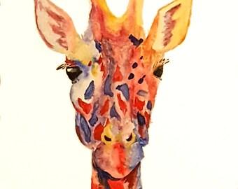 Animal Painting Giraffe Colorful Abstract Art