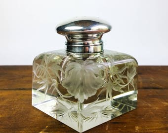 Beautiful & Very Large Etched Glass and Sterling Art Nouveau Inkwell by Black Starr and Frost