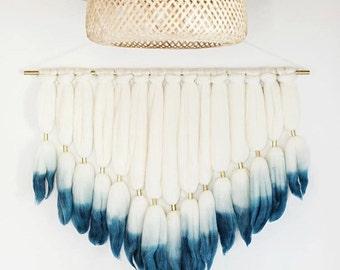 Indigo Dip Dyed Roving Wall Hanging || Fiber Wall Hanging || Handmade Tapestry || Blue Dip Dyed Tapestry