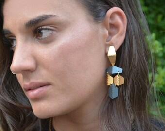 Black Gold Dangle Earrings, Chandelier Gold Earrings, Drop Geometric Earrings, Oxidized Dangle Long Earrings, Long Gold Black Earrings