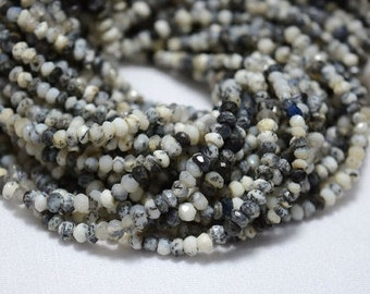 5 strands Dendrite Opal Beads, Opal Gem Stone, 3 mm Beads, Faceted Rondelle, Gemstone For Jewelry, 13.5 Inch