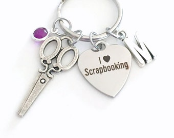 Scrapbooking KeyChain Scrapbook Key Chain Gift for Scrap Book Mom Keyring Jewelry charm Silver Initial Birthstone present I love Grandmother