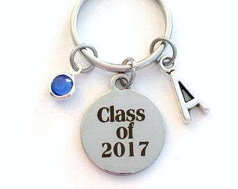 Class of 2017 Key Chain, or 2018 2019 2020 2016 Grad KeyChain, Gift for Graduate Graduation Keyring Birthstone Initial High School College