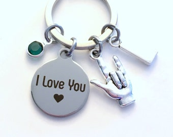 I love you Keychain, Gift for Daughter, Sign language key chain Hand Symbol Luv U Jewelry Initial Birthstone letter Mom Son Niece Girlfriend